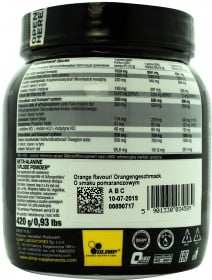 Olimp Beta Alanine Xplode nutrition label