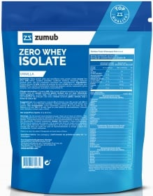 Zumub Zero Whey Isolate rótulo nutritional